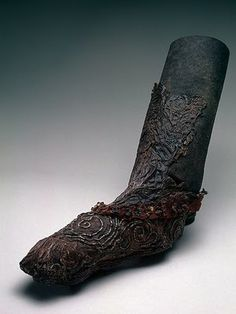 5th C BC Pazyryk embroidered, beaded boot. Pazyryk culture: identified by artifacts from the 6th to 3rd centuries BC excavated from the Siberian permafrost and Mongolia.