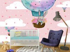 Air Balloon Nursery Wall Mural Pink Watercolor Wallpaper Self-Adhesive Girl Room #Unbranded #Modern