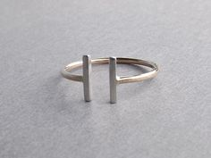 Two Bars Open Ring Parallel Bar Ring Notched by FULLMOONJEWELLERY