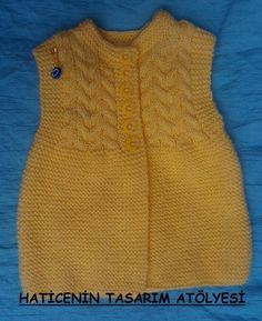 finished dress - image only Spool Knitting, Knitting For Kids, Baby Knitting Patterns, Knitting Stitches, Baby Patterns, Baby Vest, Baby Cardigan, Crochet Baby, Knit Crochet