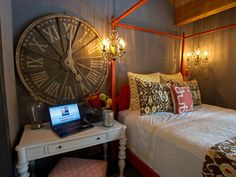Love the colors.  Bed linens and that big clock! - Guest Bedroom Pictures From HGTV Dream Home 2014 on HGTV