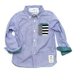 《SOLBOIS ソルボワ》 パッチワーク ポケットストライプシャツ 80-130【楽天市場】