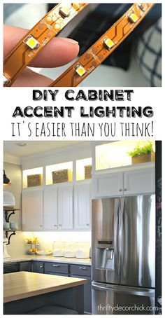 How to add accent lighting to your kitchen cabinets (with materials listed.) It's easier than you think!