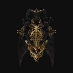 Incredible illustration work mixed with rendering by British artist Billy Bogiatzoglou, aka Billelis. I'd really, really love to see these as real-life sculptures and maybe even own. Black Art, Black Gold, Black And Gold Aesthetic, Arte Dark Souls, Sculptures, Lion Sculpture, Skull Art, Dark Fantasy, Graphic