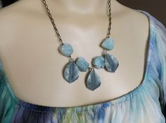 Amazonite Necklace - Blue Frozen Leaf Necklace w/ Crystals - Hand Painted Leaves, Natural Rough, Raw Stone Necklace - Blue Nature Jewelry