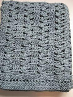 Easy Crochet Blanket Interlocking Shell Stitch by KathieSewHappy