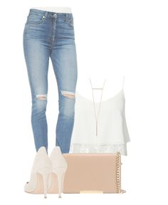 """""""It's so hard not talk to you."""" by jullianaisabel ❤ liked on Polyvore featuring 7 For All Mankind, MICHAEL Michael Kors and Gianvito Rossi"""
