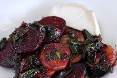 sauteed beets with shallot and chard