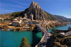 The Tour de France crossing Sisteron in the Southern French Alps