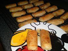 Galaktoboureko Rolla - Individual serving size recipe Greek Desserts, Serving Size, Custard, Sweet Potato, Sausage, Deserts, Meat, Baking, Vegetables