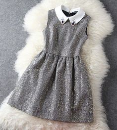 Gold Shimmer Grey Bejeweled Collar Dress. Cocktail Dress Tea Dress