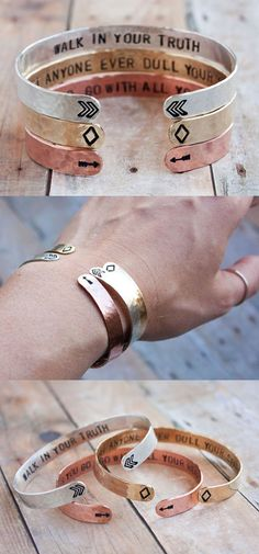 Stack of silver, brass, and copper cuffs each with a secret message of inspiration within. The little symbols serve as sweet reminders of the messages within. Always handmade and always inspired. xo.