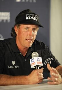 He is an idiot.                                      Golfer Phil Mickelson answers a question about comments he made about taxes during a news conference held after his round in the pro-am at the Farmers Insurance Open golf tournament at Torrey Pines Wednesday, Jan 23, 2013, in San Diego.  (AP Photo/Denis Poroy)