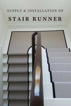Grey Stair Runner With Black Border Supplied & Fitted In Private Residence In North London