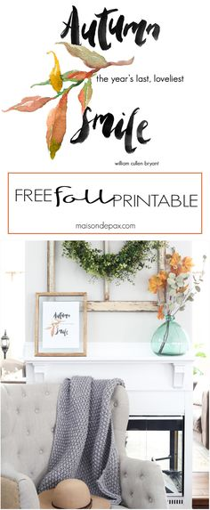 Want easy fall decor? Try this FREE fall printable with a beautiful watercolor…