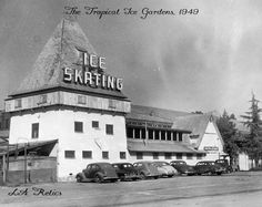 The Tropical Ice Gardens in Westwood Village opened in November 1938. It had a seating capacity for 10,000 spectators and could accommodate 2,000 ice skaters on its year-round outdoor rink. The building sustained considerable damage due to a fire in May 1939, but re-opened shortly after. It was torn down in 1949 to accommodate the expansion of UCLA.--