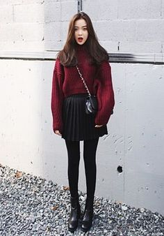 Red sweater | Asian style | @printedlove