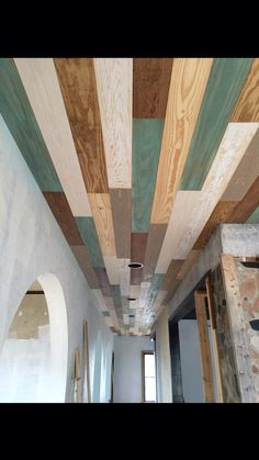 Goodbye popcorn, hello planked ceiling! 800+ sq feet 150+ 12ft 1x6 boards with 7 finishes.