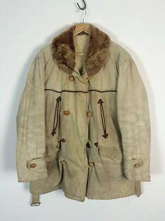 """Sold @ HK$1052 + ship - Jul16 C=50"""", L=26"""" Vintage 1930s french Canadienne mackinaw barnstormer jacket"""