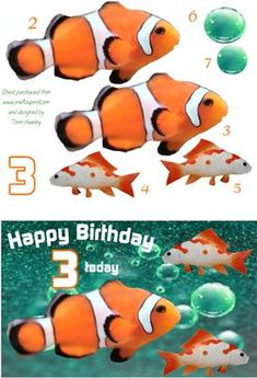- nice card for a 3 year old that likes nemo movies Nemo Movie, Birthday Cards, Happy Birthday, Card Maker, Greeting Cards, Make It Yourself, Fish, How To Make, Basket