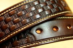 Heavy duty full grain Leather Gun Belts - Basketweave, for concealed carry, built from two layers of vegetable tanned leather, approximately thick. Leather Carving, Leather Tooling, Leather Wallet, Custom Leather Belts, Leather Working Patterns, Leather Projects, Leather Crafts, Leather Suspenders, Leather Workshop