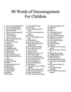 Parenting: 80 words of encouragement for children