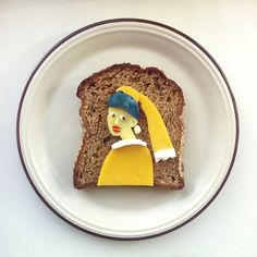 Vermeer's Girl with a Pearl Earring on toast. By Ida Frosk