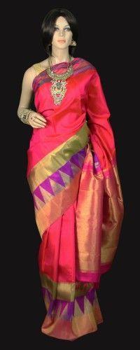 Magenta Pink Kanjeevaram Saree with Purple hue temple border