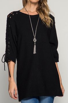3/4 LACE UP SLEEVE SWEATER TOP