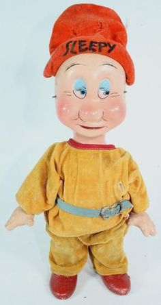 1930's Disney Knickerbocker Toy Co. Composition Doll Snow White Dwarfs Sleepy