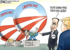 """""""Make America Sick Again"""" is Schumer and the democrats latest slogan in an attempt to save their failed program, Obamacare, from President-Elect Trump. Cartoon by A.F. Branco ©2017"""
