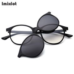 4f389c3b6293 Imixlot Black Spectacle Frame With 5 Lens Clip On Sunglasses Women Men  Polarized Magnetic Glasses Male Driving Myopia Optical.