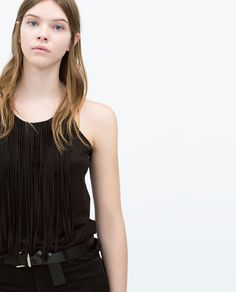 Image 1 of T-SHIRT WITH FRINGES from Zara