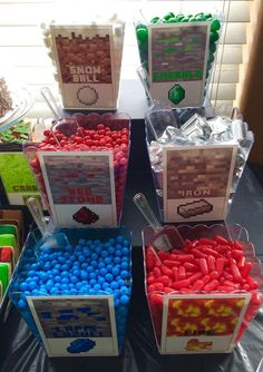 Fun candy at a Minecraft birthday party! See more party planning ideas at CatchMyParty.com!