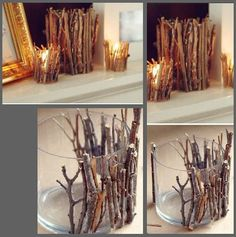 Just find some twigs outside and glue them to the side of a candle holder.