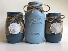 A personal favorite from my Etsy shop https://www.etsy.com/listing/481218373/set-of-3-rustic-mason-jars-hand-painted