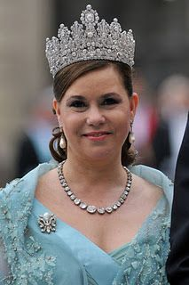 Luxembourg Empire Tiara, diamond riviere necklace and pearl drop earring worn by HRH Grand Duchess Maria Theresa of Luxembourg.