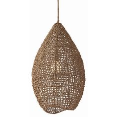 "A textured addition to modern spaces, the Arteriors Evers pendant stuns with a hive-inspired design. The teardrop silhouette gains form from hand-woven sea grass, sheltering a single bulb. Sea grass, iron; Polished nickel hardware; Wrapped cord; Hardwired; Accepts one 60W bulb (not included); Wipe with soft, dry cloth to clean; 15"" Dia x 27""H; Backplate: 5"" Dia; Cord: 6'L"