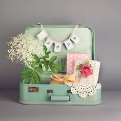 Sage green suitcase wedding card box by thisvintagething on Etsy