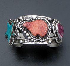 Leo Feeney - Vintage Multistone & Sterling Silver Bear, Heart & Star Cuff Bracelet #40947 $380.00