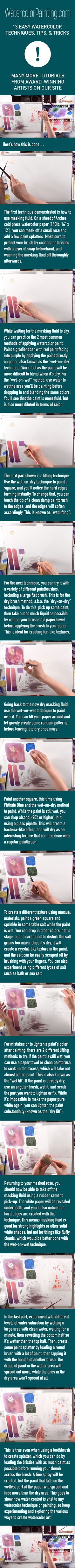 Equip yourself with 13 easy watercolor techniques, complete with alcohol and salt textures. Various beginner, intermediate & advanced watercolor techniques are taught step-by-step so you can follow along. #paintingideas Click here for free full tutorial: https://watercolorpainting.com/13-easy-watercolor-techniques/?utm_source=pinterest&utm_medium=pin-stepbystep&utm_campaign=pinterest-organic-footprint&utm_content=13-easy-watercolor-techniques