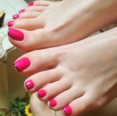 Only sexy feet Pretty Toe Nails, Cute Toe Nails, Pretty Toes, Pink Pedicure, Foot Pedicure, Red Toenails, Pink Nails, Long Toenails, Hot Pink Toes