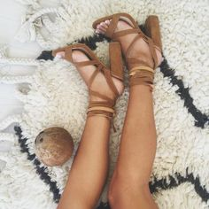 Cute lace up sandals.