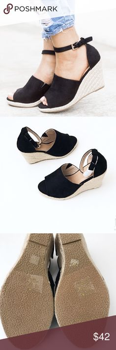1cce6c49241 New Stylish Black Wedge  Espadrille Faux Suede 👡 NWOT   NWOB Stylish Chic  Faux Suede