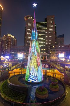 Taiwain's largest public Christmas decoration is a 118-foot-tall LED tree that features a light show every half hour after sunset.