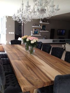 Love This Table The Chandeliers Together Wood Slab TableWood Dining