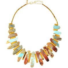 Panacea Graduated Blue Jasper Bib Necklace ($39) ❤ liked on Polyvore featuring jewelry, necklaces, multi, bib necklace, statement necklace, beaded statement necklace, graduation charms and multicolor statement necklace