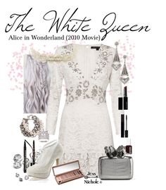 """""""Ailce in Wonderland (2010 Movie): The White Queen"""" by jess-nichole ❤ liked on Polyvore featuring Too Faced Cosmetics, French Connection, Witchery, Anastasia Beverly Hills, Pinup Couture, Gucci, Urban Decay, Nancy Gonzalez, Charlotte Russe and Lulu Frost"""