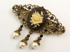 Elegante Haarspange in schwarz bronze mit Rosen von Schmucktruhe