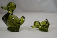 Fostoria Emerald Green Glass Mama Duck and Duckling #Fostoria